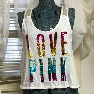 Victoria's Secret PINK Rainbow Sequin Tank